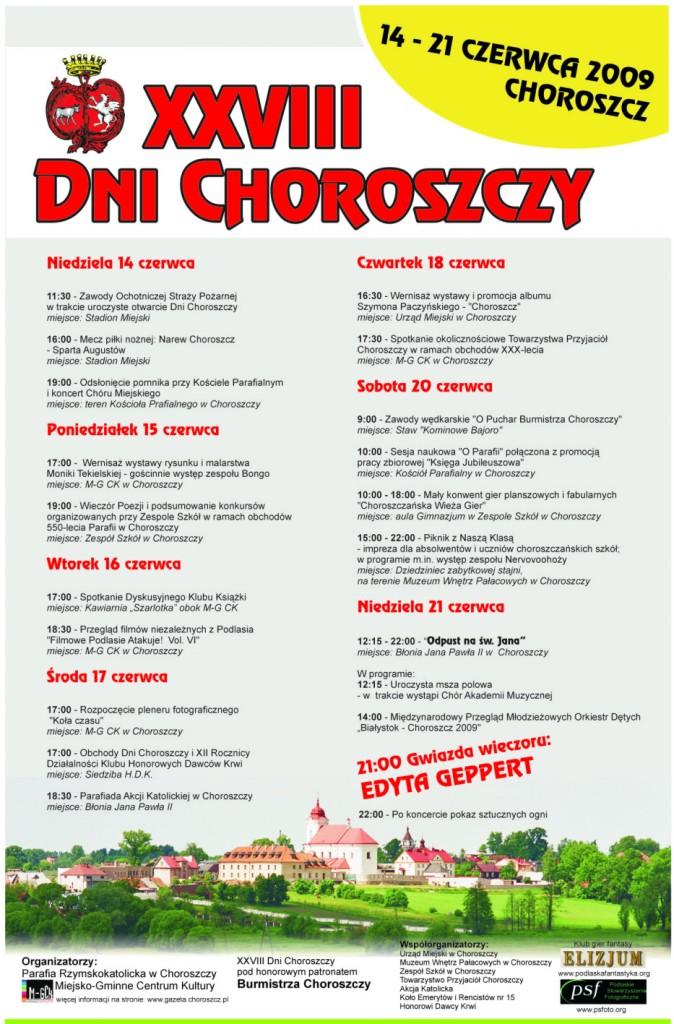 Plakat XXVIII Dni Choroszczy