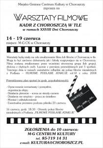 """Warsztaty filmowe """"Kadr z Choroszczą w tle"""""""