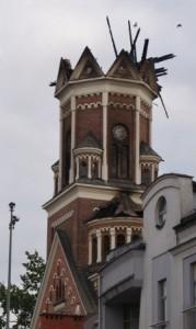 Wieża kościoła św. Wojciecha w Białymstoku po pożarze. Fot. Z. A.