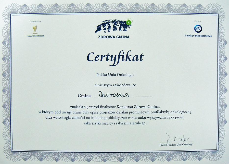 Certyfikat Zdrowa Gmina 2014