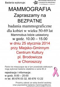plakat mammografia 25.01.2014 Choroszcz