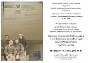 75. rocznica masowych deportacji Polaków w głąb ZSRS